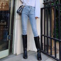 【一件2.5折价约:99】Lee Cooper韩版修身破洞小脚牛仔裤个性弹力高腰女式牛仔裤