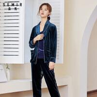 森马睡衣女春秋新款居家内衣套装韩版丝绒可外穿女士家居服两件套