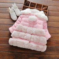 冬季新款女童中长款加绒加厚棉衣女宝宝羽绒韩棉袄1-3岁外套 1609毛下摆棉衣 粉色