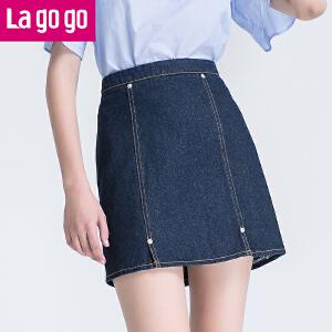 【商场同款】Lagogo/拉谷谷2017夏季新款纯色高腰包臀牛仔半裙GABB134A37