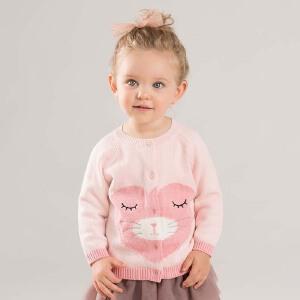 davebella戴维贝拉2018秋装新款女童针织开衫宝宝卡通毛衣DBA7944