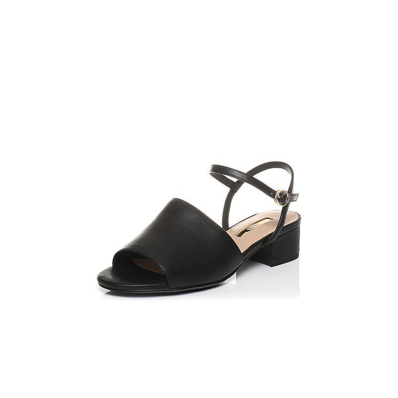 Tata/他她2017年夏季小牛皮时尚通勤粗跟女凉鞋FAO01BL7