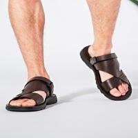 骆驼牌凉鞋男2019夏季男士真皮沙滩鞋商务休闲两用凉拖鞋爸爸鞋