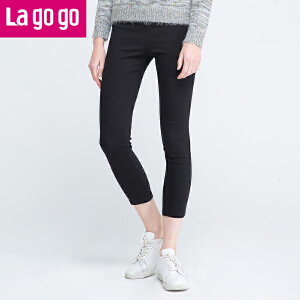 Lagogo冬季新款女装纯色黑色秋冬女裤裤子九分裤休闲裤