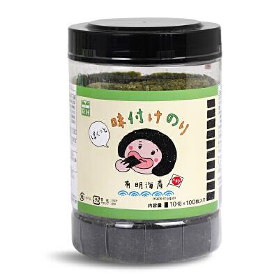 日本RH良品风味即食海苔片紫菜脆片宝宝儿童进口休闲零食100枚/罐