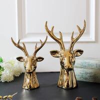 软装家居饰品欧式美式北欧风金色陶瓷鹿头动物摆件桌面摆件首饰架