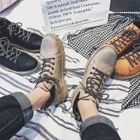 DAZED CONFUSED 潮牌冬季男士马丁靴韩版复古圆头系带潮鞋拼色潮流保暖休闲鞋男