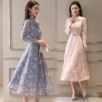 蕾丝连衣裙女2018春装新款中长款长袖春秋装气质淑女内搭打底裙子