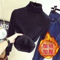 2018新款冬女士毛衣高领加绒保暖短款上衣修身加厚打底衫套头长袖
