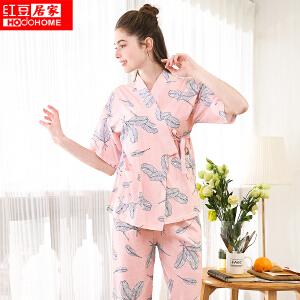 红豆居家女士睡衣春夏纯棉短袖系带开襟写意印花家居服套装332 粉色