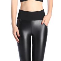 皮裤女外穿冬季新款加绒显瘦弹力pu长裤大码加厚打底裤保暖显瘦 黑色