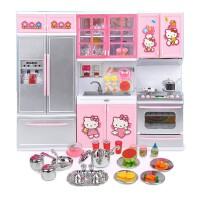 hellokitty凯蒂猫女孩儿童过家家迷你仿真小厨房冰箱做饭玩具套装 kitty厨房三组柜 粉色