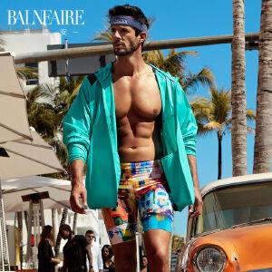 范德安时尚运动男士泳裤泳衣 速干防晒五分平角大码游泳裤 沙滩裤
