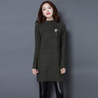 秋冬新款套头羊毛衫宽松中长款开叉毛衣女韩版羊绒大码打底针织衫
