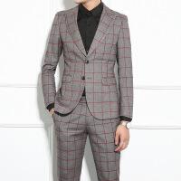 西装套装男伴郎服装结婚新郎礼服修身韩版英伦风休闲格子西服正装