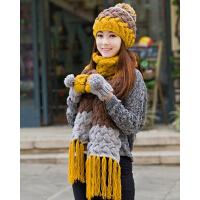 女冬季时尚帽子围巾手套三件套装一体 毛线帽加厚围脖女生圣诞生日礼物