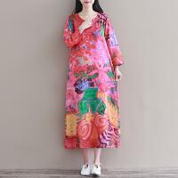 春装新款原创文艺复古民族风印花长裙大码宽松显瘦连衣裙长袖