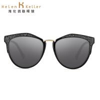 海伦凯勒太阳镜女2017明星款猫眼复古彩膜偏光墨镜可配近视H8619