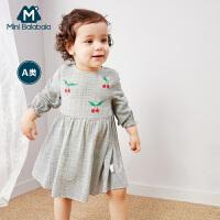【2件3.8折】迷你巴拉巴拉婴儿连衣裙2019春装新款儿童宝宝长袖可爱印花裙裙子