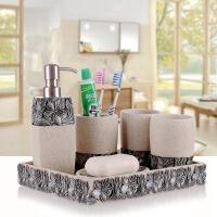 欧宴卫浴五件套树脂 卫浴套装洗漱套件欧式浴室用品