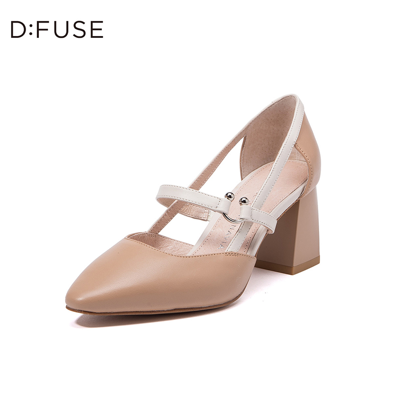 迪芙斯(DFUSE)女鞋 2019年春季专柜同款羊皮革尖头粗跟时尚中后单鞋DF91114402