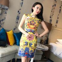 2018春季新款韩版气质复古女装龙图腾印花修身显瘦旗袍连衣裙A849