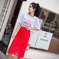 夏装新款字母印花短袖t恤+高腰蕾丝水溶花边裙洋气套装女