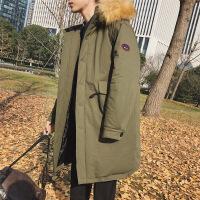 中长款毛领棉衣韩版潮流外套情侣装男士冬季棉袄2018新款大衣