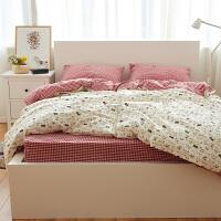 春秋冬加厚全棉四件套 微磨毛棉简约混搭床单4件套被套床上用品