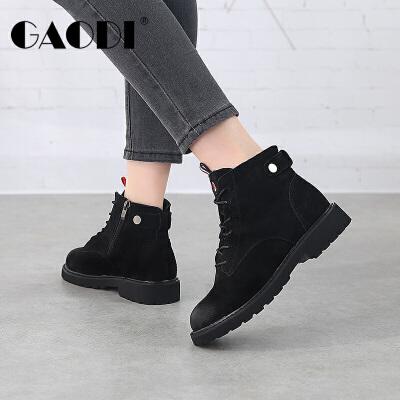 高蒂女鞋2017冬季新款平底马丁靴女粗跟加绒复古英伦风靴子女短靴