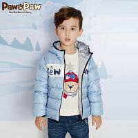 【3件3折 到手价:299】Pawinpaw卡通小熊童装新款冬男童撞色连帽白鸭绒羽绒服