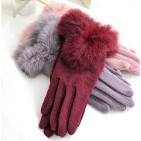 羊毛手套兔毛口 保暖显瘦手套分指手套