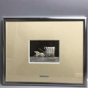回流的纯手工制作银鎏金马车画框