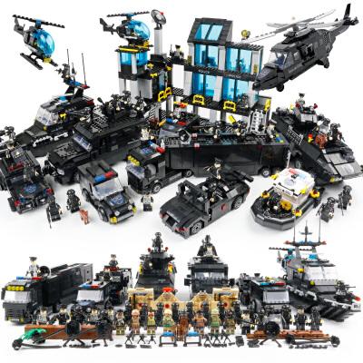 樂高积木防爆特警系列男孩子拼装城市警察总局特种兵玩具大汽车