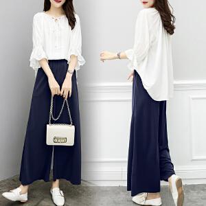 安妮纯套装女神范夏季2019新款韩版气质显瘦短袖衬衫女洋气时尚宽松阔腿裤两件套潮
