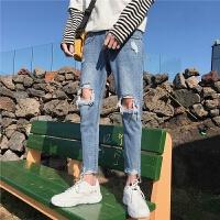 夏季破洞牛仔裤韩版潮流个性乞丐裤男士修身小脚裤学生九分裤