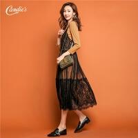 【2折到手价99元】连衣裙针织衫两件套女秋冬季新款气质吊带蕾丝裙长袖上衣套装