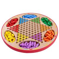 桌面游戏儿童木制玩具跳棋飞行棋五子棋斗兽棋