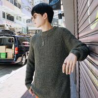 毛衣男纯色圆领针织衫男2018秋季新品韩版潮长袖男装外套毛线衣男