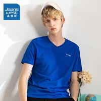 真维斯男装 夏季新款 平纹布V领净色短袖T恤