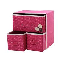 韩式 两层三抽收纳箱 无纺布抽屉式收纳盒内衣袜子玩具整理箱收纳箱 杂物盒 首饰盒
