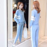 孕妇秋冬装套装辣妈休闲针织两件套款2018新款产后外出哺乳衣