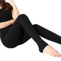 保暖毛裤彩色秋冬款踩脚冬天外穿加绒加厚透彩打底裤女绒裤 黑色 绒纯黑 均码