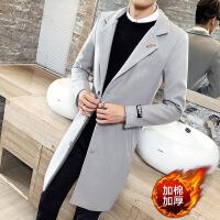 2018秋冬季呢子外套男装冬装韩版修身潮流中长款毛呢大衣男士风衣