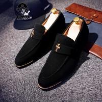 米乐猴 潮牌春秋新款男士37码休闲鞋黑色克罗心男鞋发型师潮鞋英伦风尖头皮鞋男鞋