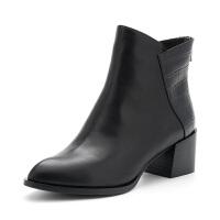 D:Fuse/迪芙斯冬季尖头粗跟高跟后拉链时装短靴DF84116528