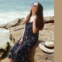 连衣裙仙女雪纺2018春夏装新款碎花淑女吊带两件套裙度假沙滩裙子1T000382