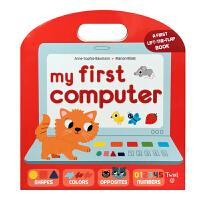 我的首套电脑 英文原版 My First Computer shapes,colors,纸板翻翻书 操作书 锻炼手部肌