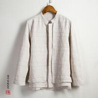 中国风亚麻男士唐装衬衫长袖外套中式春秋款麻料汉服长衫居士服潮
