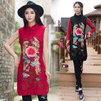 原创设计秋装新款马甲女民族风重工绣花女装无袖中长款背心裙